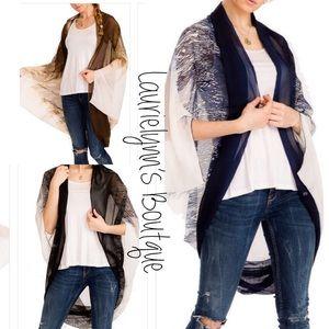 Chic Oversized Boho Styled Chiffon, Felt Kimono